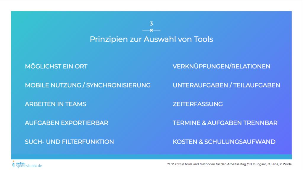 Prinzipien bei der Auswahl von Tools